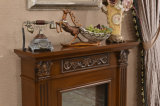 Brown Stone Fireplace with Flower Carving for Indoor Decoration