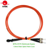 1.8mm MTRJ-ST/PC Duplex Multimode 62.5 Om1 Fiber Optic Patch Cord