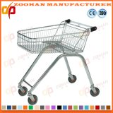 European Style Wire Metal Wheeled Supermarket Shopping Trolley Cart (Zht190)