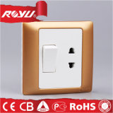 Frosted Golden Color 1gang 10A Switch with 16A Socket