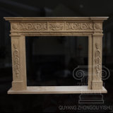 Good Quality Simple Partten White and Yellow of Egypt Marble Fireplace Sculpture