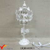 Quaint Beautiful Rusted White Metal Table Lamp with Butterfly