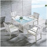 New Design White Rattan Wicker Outdoor Dining Table Set with 4 People