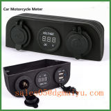 Marine Motorcycle Car Auto Accessory Cigarette Socket Charger and Digital Voltmeter Panel Mount