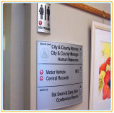 Curved Wall-Mounted Sign/ Rest Room Sign