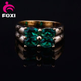 Yellow Gold Plated Green Gemstone Copper Jewelry Rings