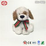 Cute White Dog Sitting Animal Stuffed with Bowtie Plush Toy