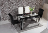 Wholesale Cheap Modern Black Glass 4 Seater Dinnig Table Dining Room Set