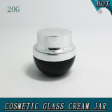 20ml Elegant Black Empty Cosmetic Glass Cream Jar