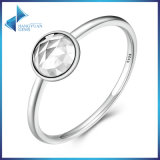 100% 925 Sterling Silver April Droplet, Rock Crystal Finger Ring Women Fashion Jewelry