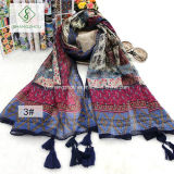 Nepal Folk Style Geometric Cashew Printed Lady Fashion Scarf