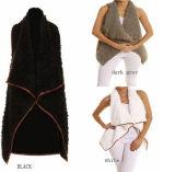 Monogrammed Cream/Tan Faux Fur Vest (10122)