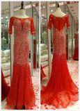 Grey Red Heavy Beading Mermaid Short Sleeve Long Evening Dress