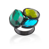 New Fashion Jewelry Gun Black Plated Rings for Women Blue & Green Stone Female Finger Ring