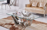 Dining Table with Tempered Glass Stainless Steel Base