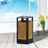 Outdoor Iron Powder Coate Solid Wooden Garbage Dustbin with Ashtray