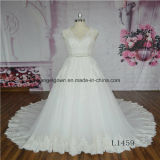 V-Neck Lace Cap Sleeve Wedding Gown