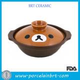 Cute Beer Face Lid Ceramic Cooking Pot