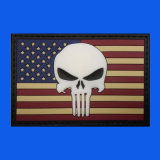 USA Flag Skull Rubber PVC Woven Patch