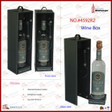 Professional PU Wrapping Wood Single Bottle Wine Box (4592)