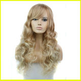 Fashion Lady′s Blonde Wavy Synthetic Hair Wigs