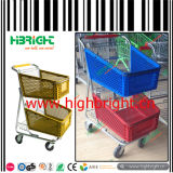 American Style Double Basket Plastic Shopping Cart Trolley