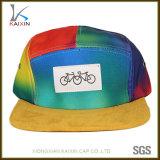 Custom Colorful Tie Dye Suede Brim 5 Panel Hat