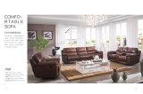 Brown Color L Shape Leather Recliner Sofas Sets