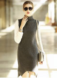 Women′s Long Cashmere Dress Without Sleeve Turtle Neck 16brdw013