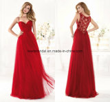 Sheer Party Fashion Gowns Red A-Line Prom Eevning Dresses Z1065