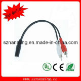 DC 3.5 Female to 2RCA Male Audio Cable