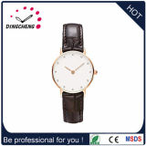 Fashion Stainless Steel Wrist Ladies Watch with Japanese Movement and Genuine Leather Strap
