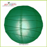 Christmas Green Irregular Ribbed Round Paper Lanterns