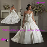 New Satin Bridal Wedding Gown with Beading Sweetheart Neckline