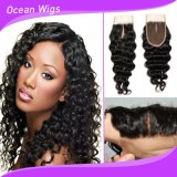New Arrival Top Grade 100% Virgin Brazilian Human Hair Deep Wave Silk Base Lace Closure