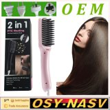2 in 1 Ionic Hair Straightener Brush with LCD Display