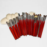 Wholesale 24 Pieces High Quality Wood Pole Animal Hair Makeup Brush