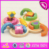 Brilliant Color Wooden Geometric Stacker for Kids, Shape Matching Toys Geometric Stacker for Children W13e056