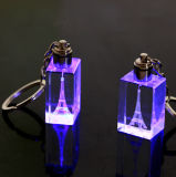 3D Laser with LED Light Crystal Keychain