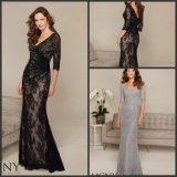 3/4 Sleeve Lace Mother′s Formal Gown Silver Black Evening Dresses M71313