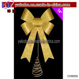 Ribbon Bow Tree Topper Christmas Party Decor Shiny Ornament (CH8059)