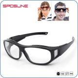 Wraparound Transparent Lens Black Frame Sport Sunglasses Mens Womens Sunglasses