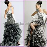 Formal Evening Dress Black White Checked One Shoulder Prom Dress (P117)
