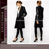 Hot Sale Black Lady Clothes Winter Long Coat (TONY8029)