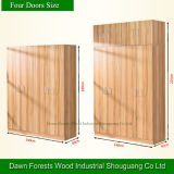 Four Doors Light Walnut Panel Wardrobe Set