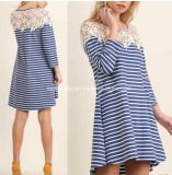 Stripe Cap Sleeve Knit Dress for Women