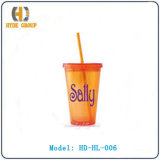 Double Wall Acrylic Cup with Straw (HD-HL-006)