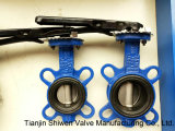 Quctile Iron Square Grooved Seat Wafer Type Butterfly Valves