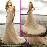 Double Straps V-Neck White Ivory Lace Beaded Beach Bridal Wedding Dress (L21)