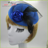 Blue Woman Hair Clip Fashion Billycock with Feather